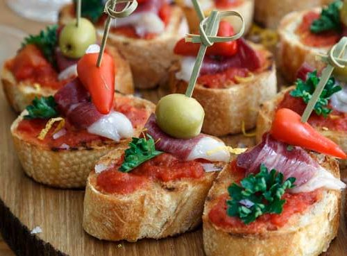 selection of Spanish themed tapas