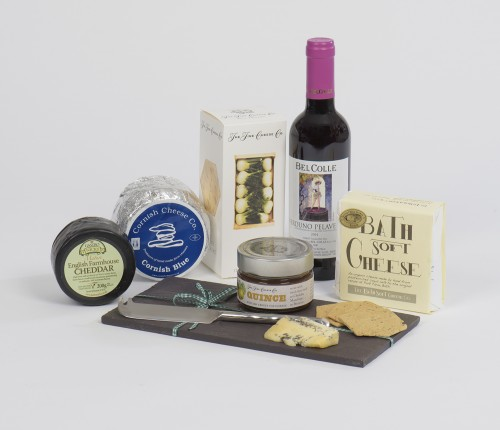 complete cheeseboard in a hamper