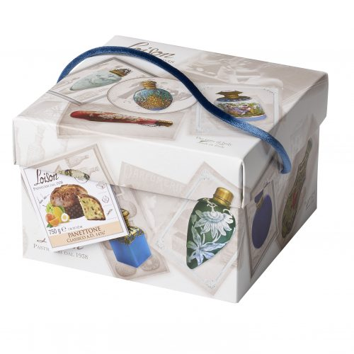 Classic panettone in beautifully decorated box with ribbon lid