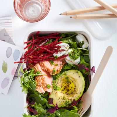 Hot smoked trout & avocado salad
