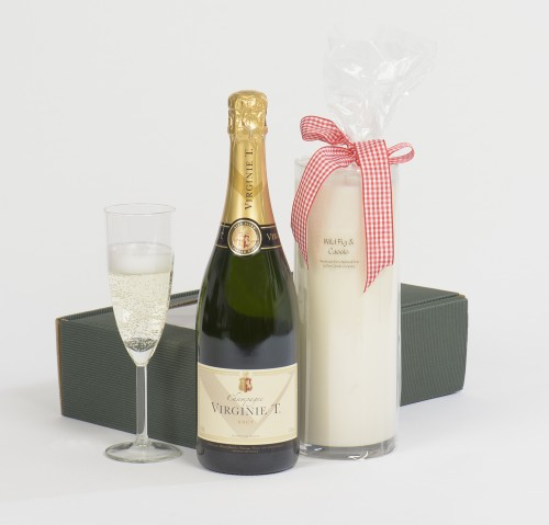 champagne & a scented candle for a celebration hamper