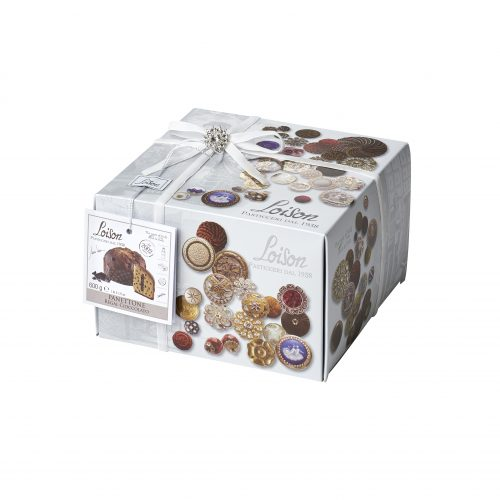 Chocolate panettone in button themed jewelled box