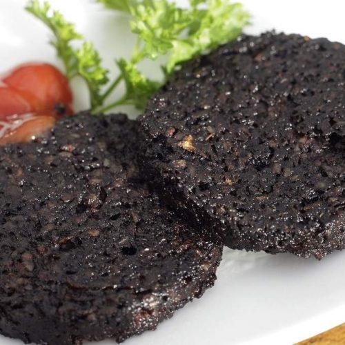 Delicately oak smoked black pudding